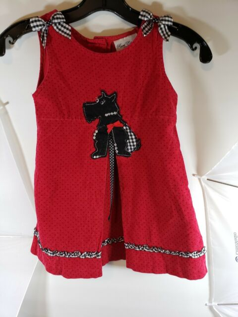 bcd8f4a0c1af Rare Edition Girls 4T Red Black Sleeveless Dress Jumper Scottie Terrier Dog