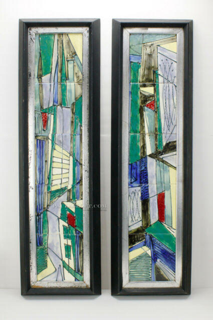 Mid Century Modern Harris Strong Tile Wall Art Diptych Abstract Architecture