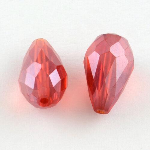 120 Séquoia Perles de Verre 11 mm Gouttes rodé Coloré Fire-Polished À faire soi-même x78#3