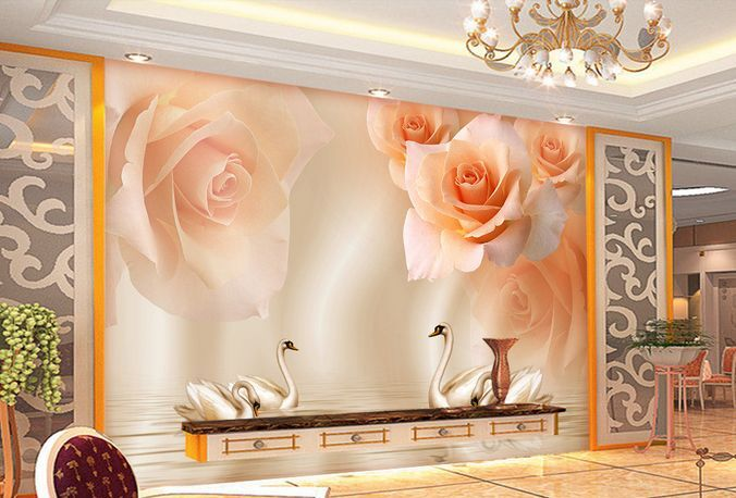 3D Rose e cigni 13 Parete Murale Carta da parati immagine sfondo muro stampa
