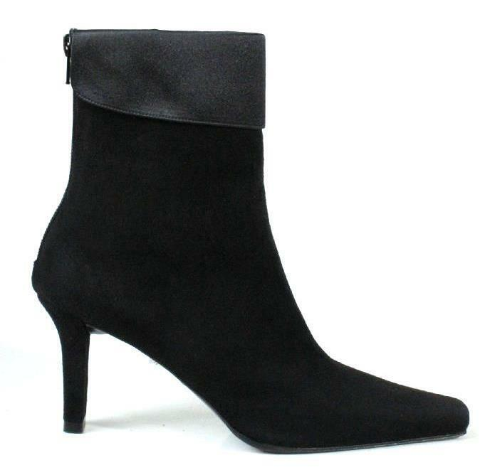 new STUART WEITZMAN 'Madison' black suede satin cuff ANKLE BOOTS Shoes