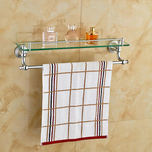 Chrome Polished Bathroom Glass Shelf Wall Mount Cosmetic Holder with Towel Bar