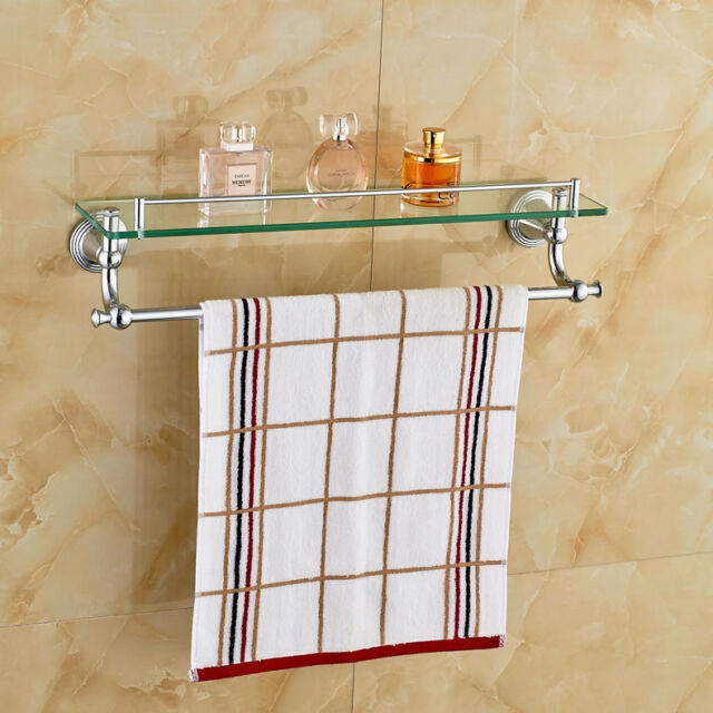 Brilliant Chrome Polished Bathroom Glass Shelf Wall Mount Cosmetic Holder With Towel Bar Download Free Architecture Designs Scobabritishbridgeorg