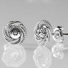 Argento Sterling Orecchini A Perno intrecciati a sfera specchiata Elementi Swarovski Crystal CAL