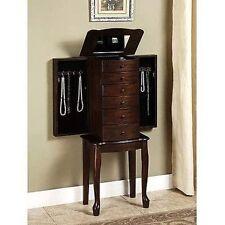 5 Drawers Standing Jewelry Organizer Storage Furniture Mirror Hooks