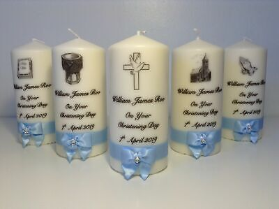 BAPTISM 1-150 CHRISTENING CONFIRMATION CANDLES PERSONALISED FAVOURS