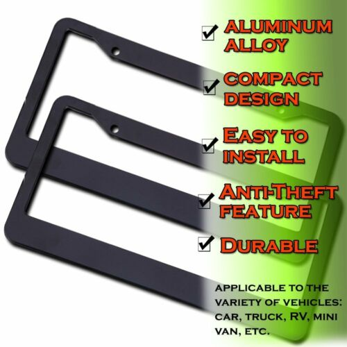 Zento Deals 2 Pack of Anti-Theft Matte Aluminum License Plate Frame with Screws