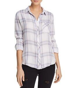 Rails Women's Hunter Button Down Plaid Shirt Ivory Size Large L New $158.00 by Rails