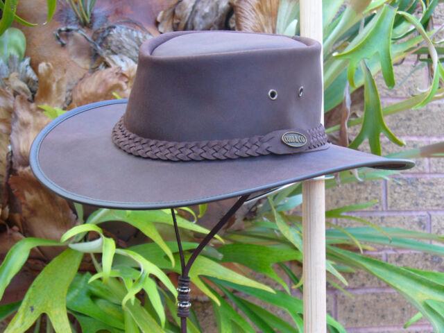 BROWN LEATHER AUSTRALIAN HAND MADE FOLD-UP OUTDOORS BUSH HAT / JACKAROO HAT