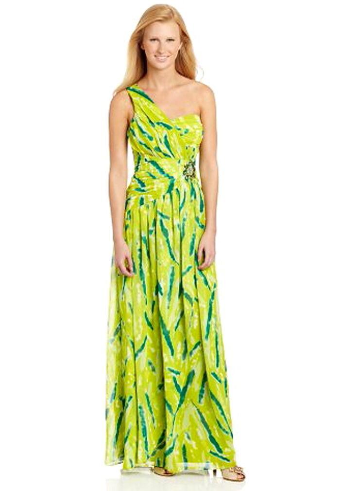 NWT  Rampage One-Shoulder Maxi Dress Prom Summer Party Sz 1 Lime Grün Blau