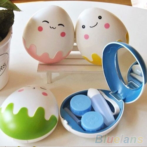 Pretty Egg Design Travel Contact Lens Case Box Set Cleaning Holder Soak Storage