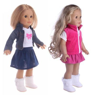 Girl Doll Clothes Dress Suit Set Top Skirt Coat for 18inch Girls Dolls