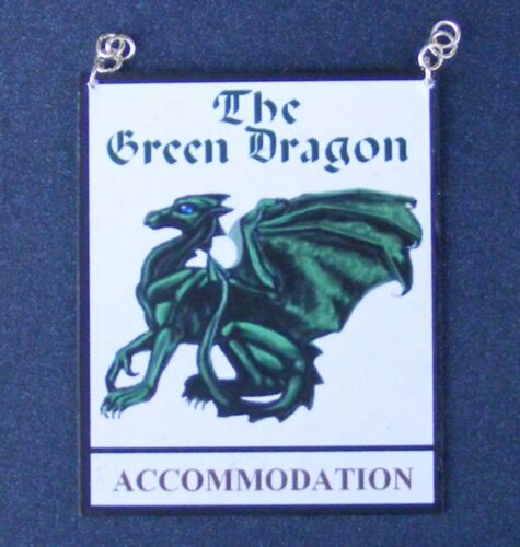 Escala 1:12 el Signo Dragón Verde pub Casa de Muñecas en Miniatura Accesorio de la barra Inn