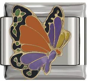 Pulsera italiano 9mm esmalte mariposa encanto DJ003