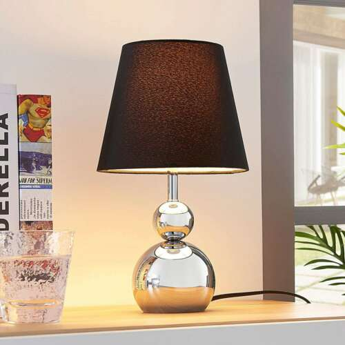 Tischlampe Andor Verchromt Stoff Textil Schwarz Lampenwelt Tischleuchte 4 Stufen