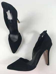 NEW-WOMENS-NEXT-BLACK-FAUX-SUEDE-ANKLE-STRAP-HIGH-STILETTO-HEEL-SHOES-UK-5-EU-38