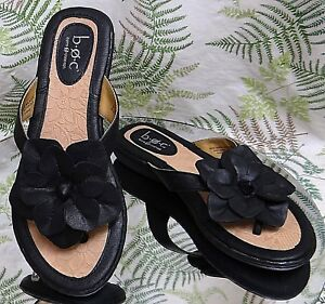 BORN-BLACK-FLORAL-THONG-TOE-SLIP-ONS-SLIDES-DRESS-SANDALS-SHOES-US-WOMENS-SZ-6-M