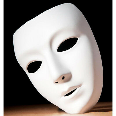 Full face Paintable Plastic Mask For Party Theater Mask DIY Cosplay Costume Prop