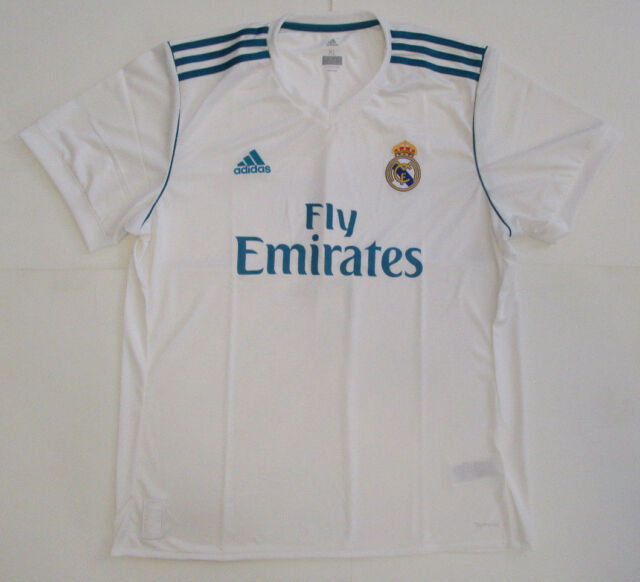Buy adidas Real Madrid Replica Home Soccer Jersey White   Vivid Teal ... 5e72deab8f