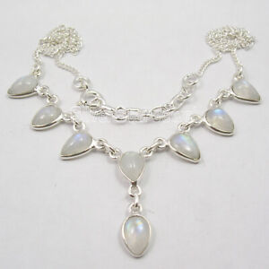 Solid-Sterling-Silver-Blue-Rainbow-Moonstone-Necklace-17-7-034-Discount-Jewelry