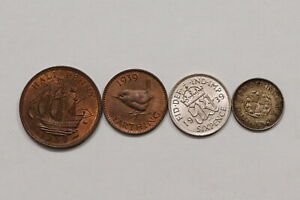 UK-GB-1939-COINS-LOT-WITH-SILVER-ALL-HIGH-GRADE-B10-YK35