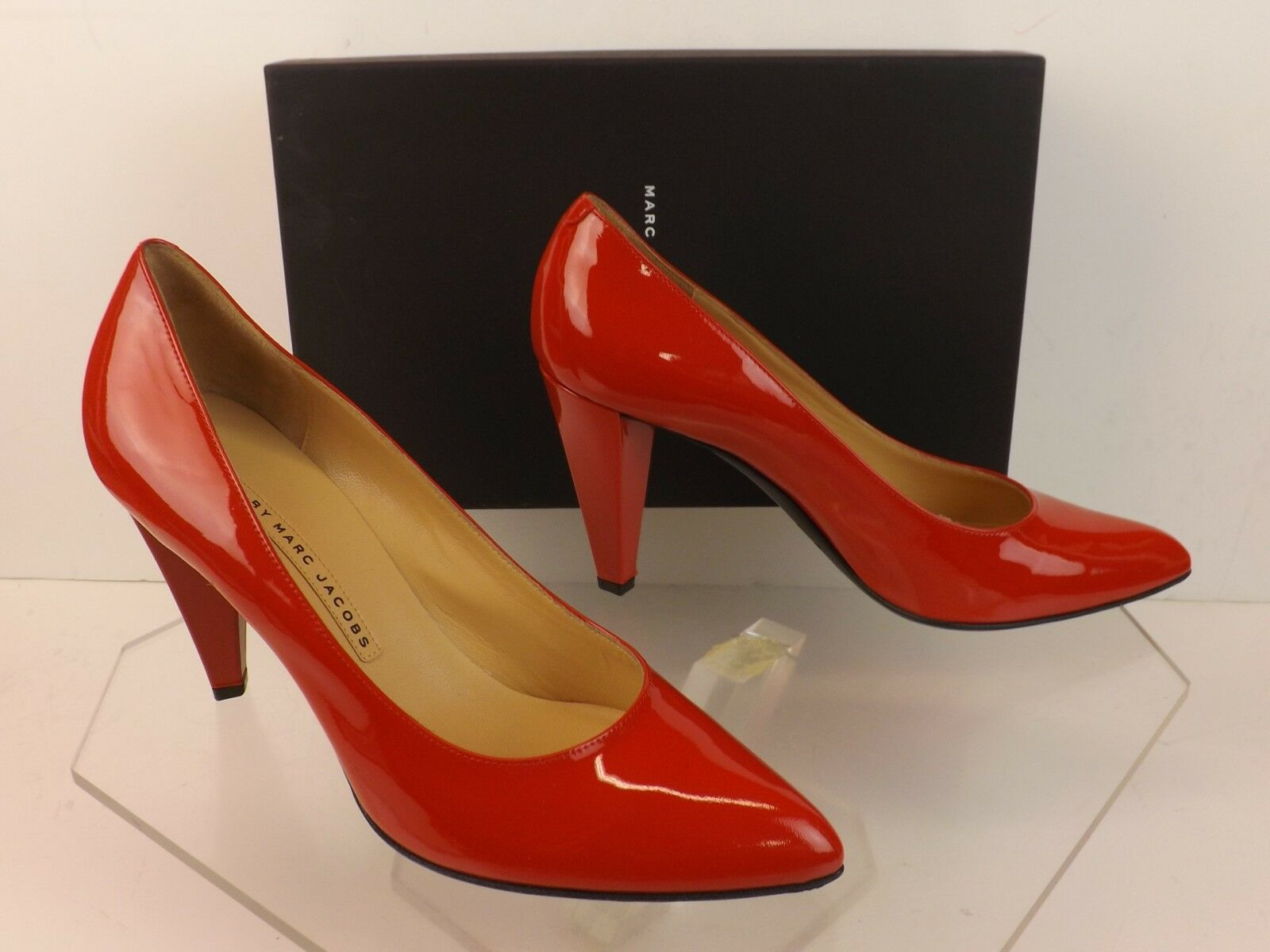 NIB MARC BY MARC JACOBS JACOBS JACOBS rot PATENT LEATHER POINTED TOE HIGH HEEL PUMPS 38 ITALY f9b848