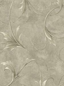 Wallpaper-Designer-Large-Cream-amp-Gray-Taupe-Leaf-Scroll-on-Metallic-Gray-Faux