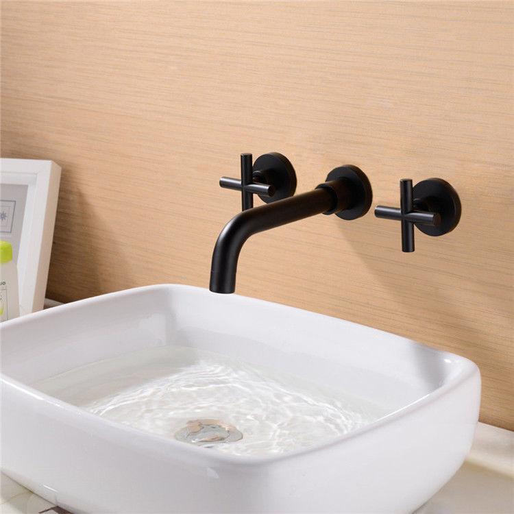 Modern Wall-Mount Double Croix poignées en laiton lavabo robinet noir pour salle de bain