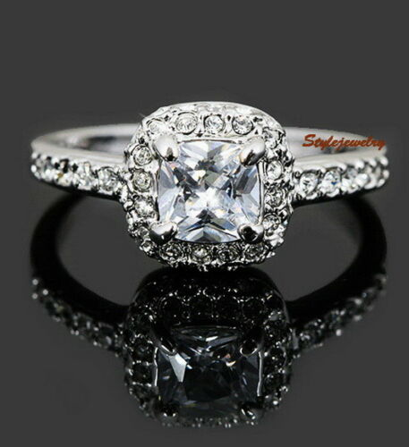 18k White Gold Plated Square Crystal Women Wedding Engagement Ring Size 10 R114