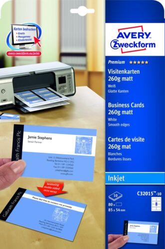 Avery Zweckform Visitenkarten 85x54mm 260g C32015-10 matt weiß glatte Kanten
