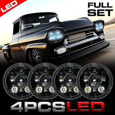 LED 4x Classic Black Projector Light Bulb Headlight Headlamp for GMC Chevy