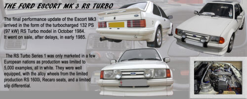 MK3 FORD ESCORT MK 3 RS TURBO SERIES 1 CLASSIC CAR MUG LIMITED EDITION