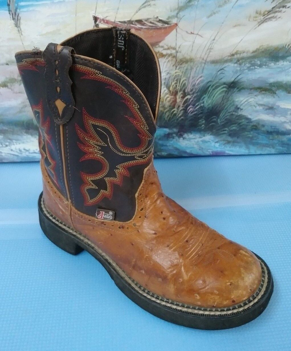 Justin L9900 Brown Animal Print Western Cowboy Boots Women  8B