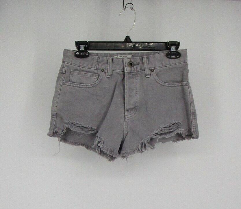 Free People Women's Cut Off Raw Hem Distressed Jean Shorts Grey Sz W27 New 1069