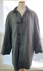Cool VTG Grais Reversible Tweed Coat Long Full Gray Black Winter Trench Fall