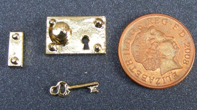 1:12 Scale Metal Lock & Key Set Dolls House Miniature Door Handle Accessory 600