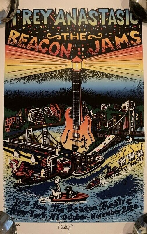 #'D Hand Signed by Jim Pollock & Trey Anastasio The Beacon Jams Art Print Phish on eBay thumbnail