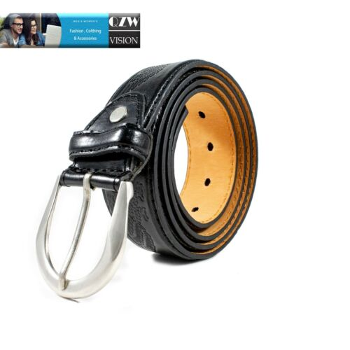 Men/'s Genuine Leather Dress Jeans Belts With Buckle Causal Black Brown M L XL