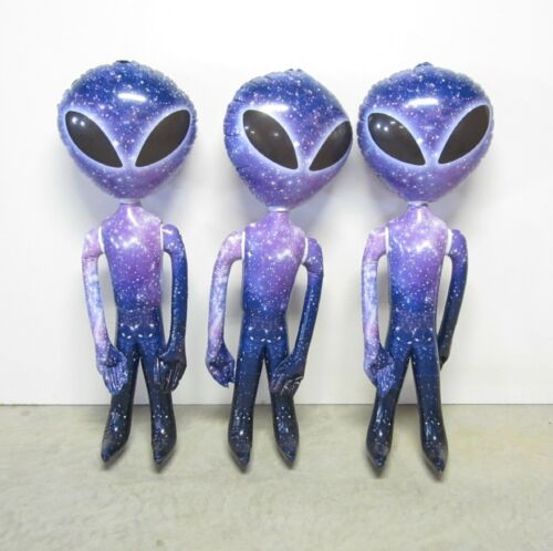 """3 NEW INFLATABLE PURPLE GALAXY SPACE ALIEN 36/"""" ALIENS HALLOWEEN PARTY INFLATE"""