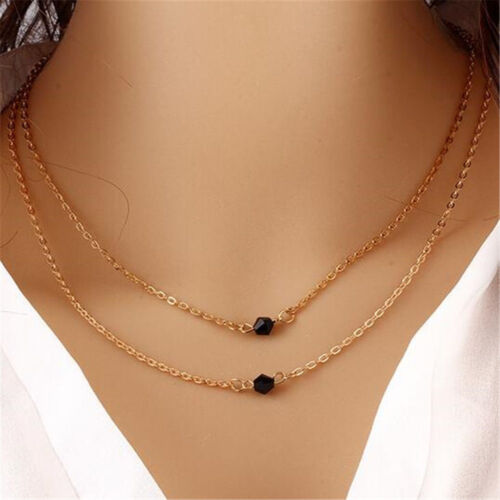 Women Gold Pearl Crystal Statement Chunky Choker Chain Pendant Necklace Jewelry