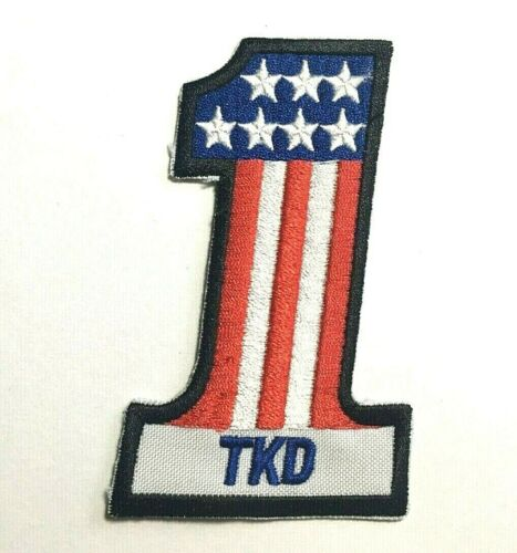 Taekwondo Number One USA Patch Red White /& Blue #1 USA Flag TKD Embroidered