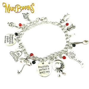 Disney-039-s-Mary-Poppins-11-Themed-Charms-Assorted-Metal-Charm-Bracelet