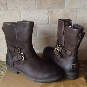 de20f4d63a3 Details about UGG SIMMENS STOUT WATERPROOF BOMBER LEATHER ANKLE BOOTS SIZE  US 6 WOMENS
