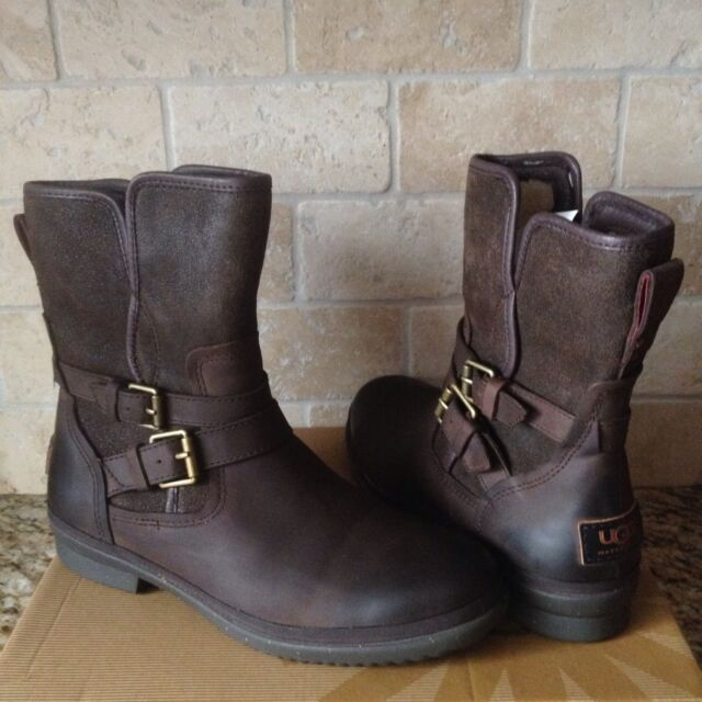 2b625c53d37 UGG SIMMENS STOUT WATERPROOF BOMBER LEATHER ANKLE BOOTS SIZE US 6.5 WOMENS