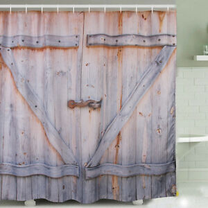 Wood Door Digital Printing Polyester Shower Curtain Home Creative