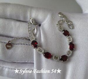 ???? Magnifique bracelet ciselé argent 925 Grenat et brillants zc