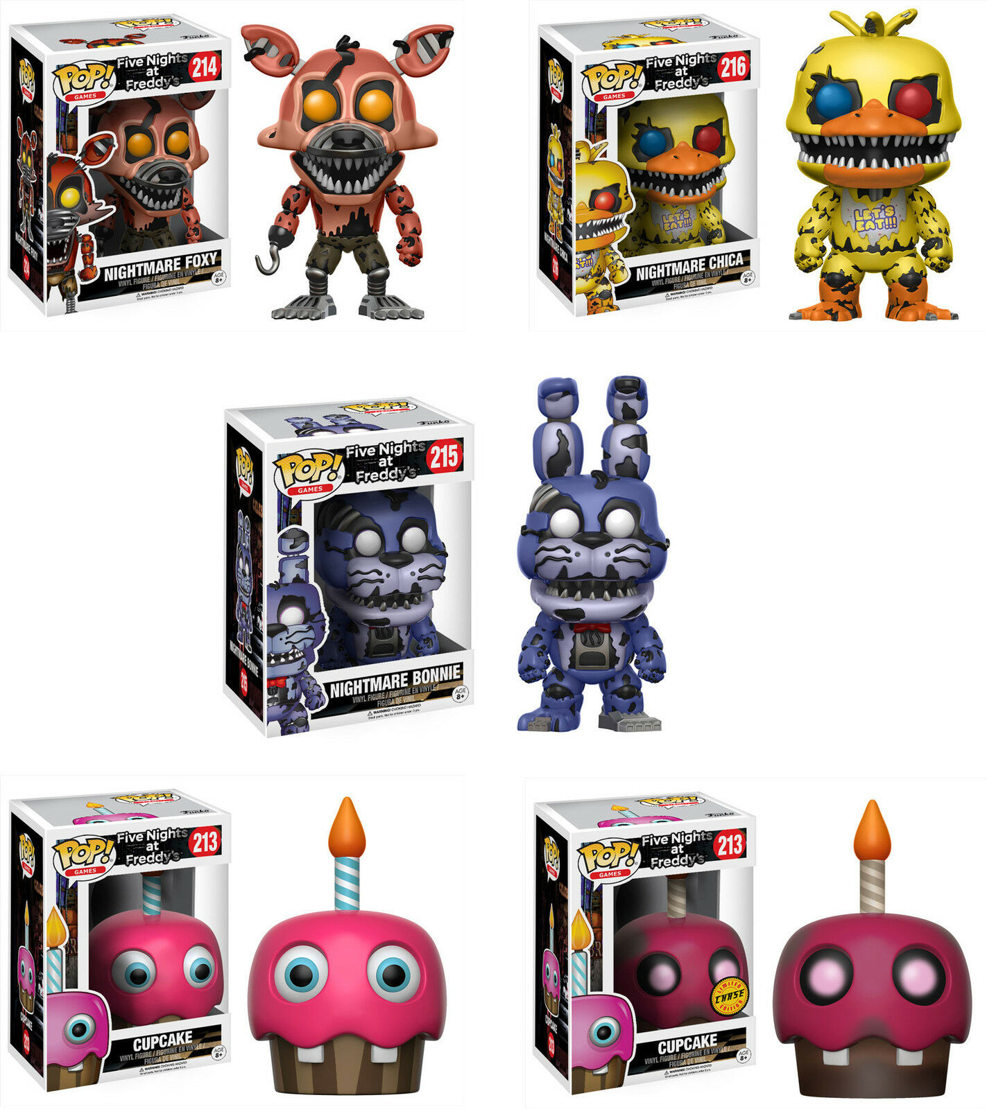 Funko POP  Games  FIVE NIGHTS AT FREDDY'S WAVE 2 SET w CHASE  FNAF