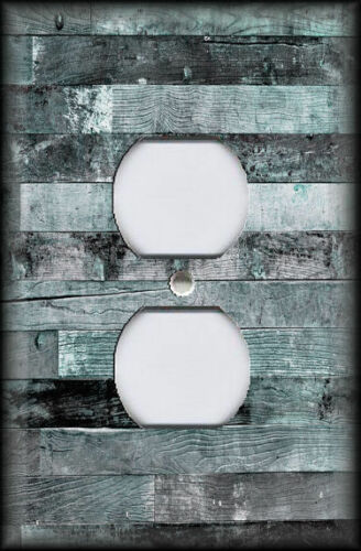Metal Switch Plate Covers Rustic Industrial Decor Reclaimed Wood Design Teal 02
