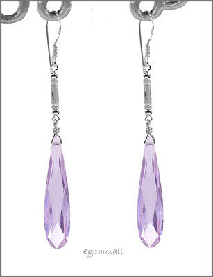 925 Silver Dangle Drop Earrings w/CZ Lavender #65211