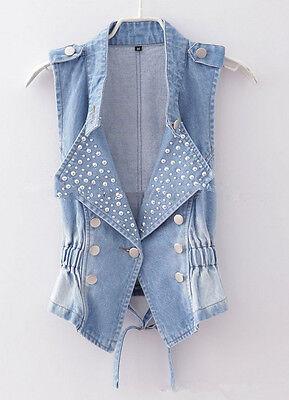 HOT Fashion Women Beads Denim Vest Ladies Jean Waistcoat Jean Vest,S/M/L/XL/XXL